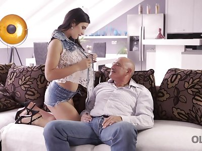 Old whoremonger empathize with fucks anus of pretty young GF riding his cock