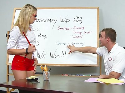 Blonde college girl sucking and fucking her teacher