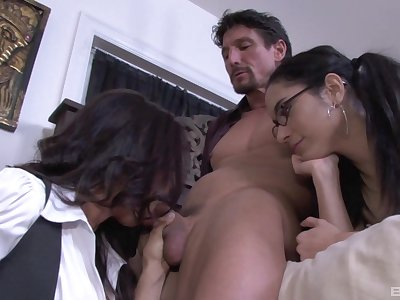 Exclusive mom with the addition of daughter home trio first of all a Herculean dick