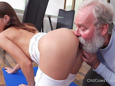 Old step uncle enjoys fucking slutty step niece Mina doing yoga exercises